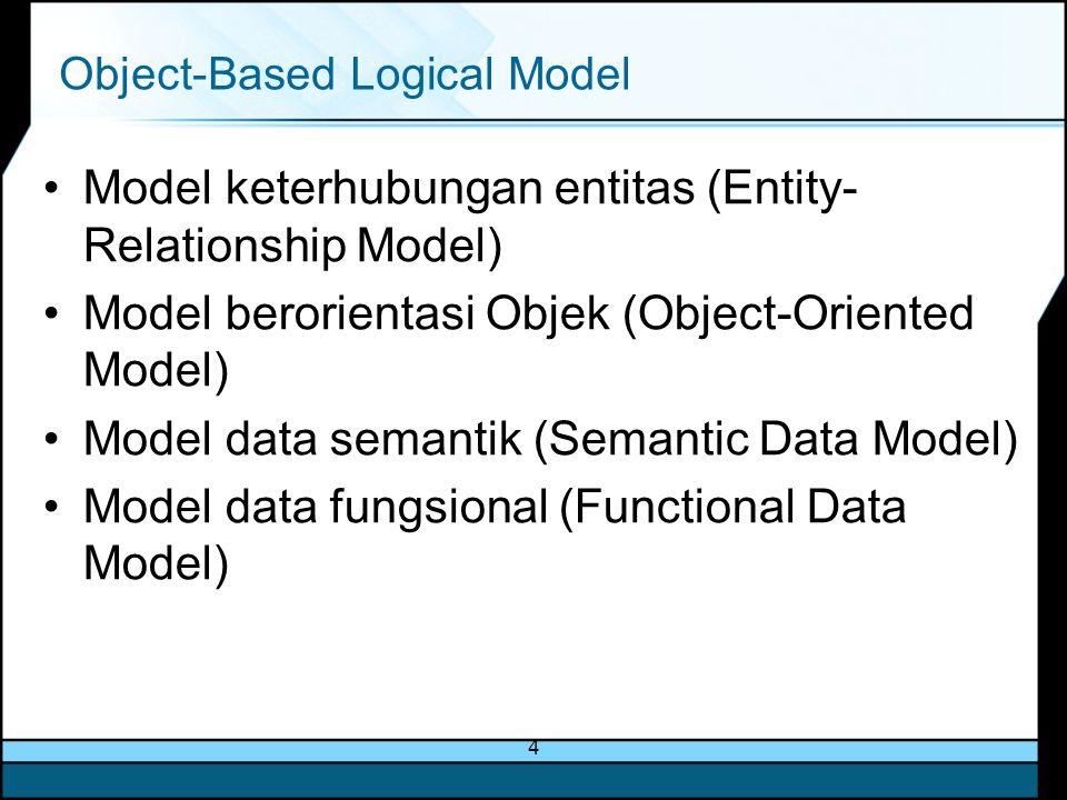 4 Object-Based Logical Model Model keterhubungan entitas (Entity- Relationship Model) Model berorientasi Objek (Object-Oriented Model) Model data sema