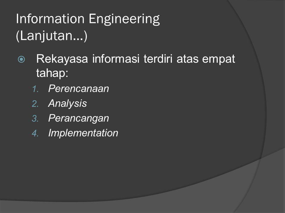 Information Engineering (Lanjutan…)  Rekayasa informasi terdiri atas empat tahap: 1. Perencanaan 2. Analysis 3. Perancangan 4. Implementation