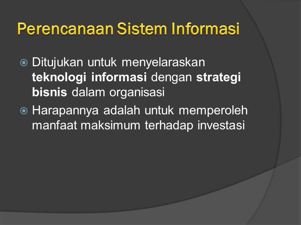  Ditujukan untuk menyelaraskan teknologi informasi dengan strategi bisnis dalam organisasi  Harapannya adalah untuk memperoleh manfaat maksimum terhadap investasi