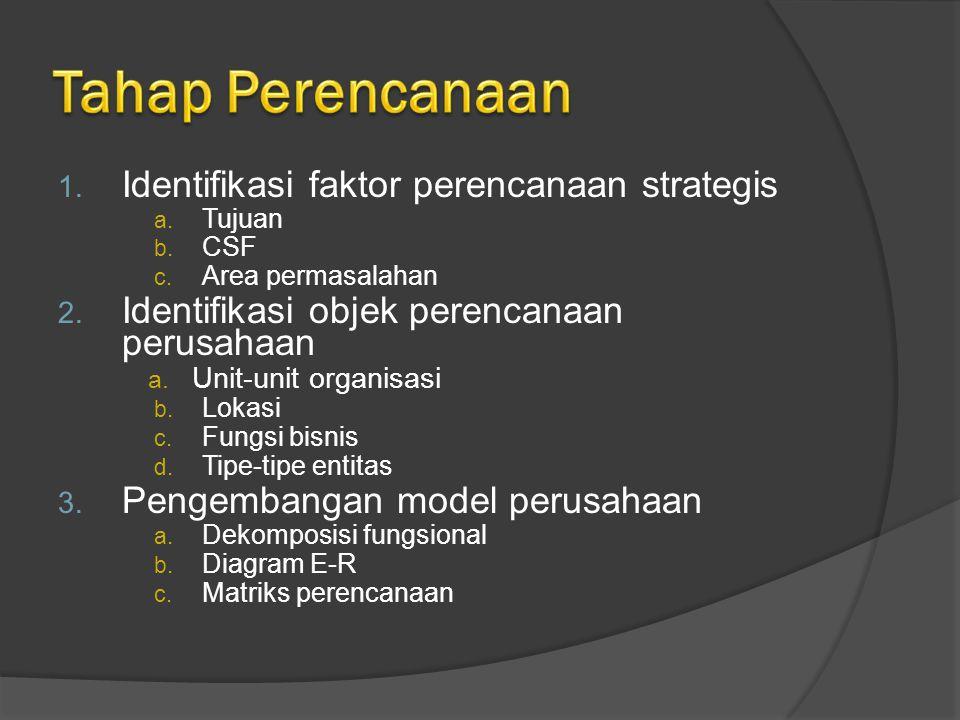 1. Identifikasi faktor perencanaan strategis a. Tujuan b. CSF c. Area permasalahan 2. Identifikasi objek perencanaan perusahaan a. Unit-unit organisas