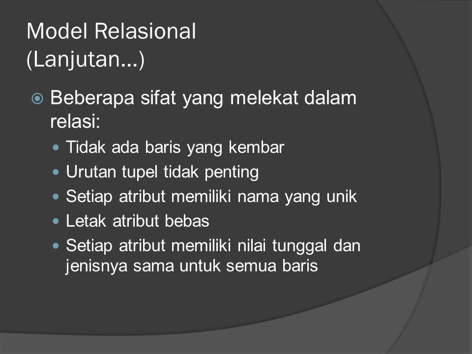 Model Relasional (Lanjutan…)  Beberapa sifat yang melekat dalam relasi: Tidak ada baris yang kembar Urutan tupel tidak penting Setiap atribut memiliki nama yang unik Letak atribut bebas Setiap atribut memiliki nilai tunggal dan jenisnya sama untuk semua baris