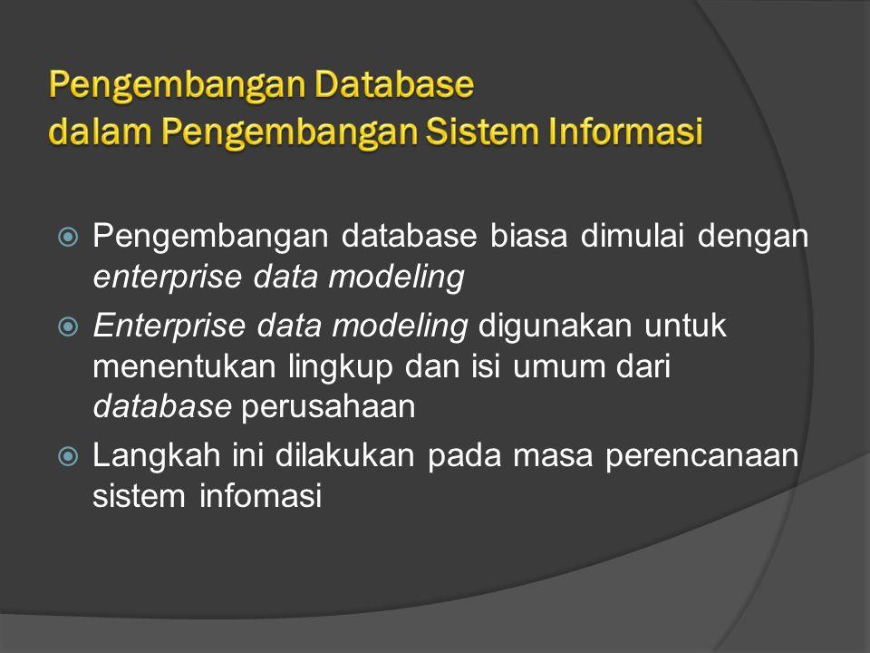  Pengembangan database biasa dimulai dengan enterprise data modeling  Enterprise data modeling digunakan untuk menentukan lingkup dan isi umum dari database perusahaan  Langkah ini dilakukan pada masa perencanaan sistem infomasi