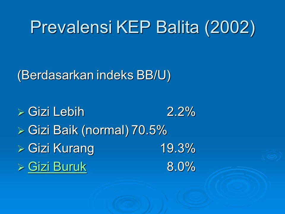 Prevalensi KEP Balita (2002) (Berdasarkan indeks BB/U)  Gizi Lebih 2.2%  Gizi Baik (normal)70.5%  Gizi Kurang19.3%  Gizi Buruk 8.0% Gizi Buruk Giz