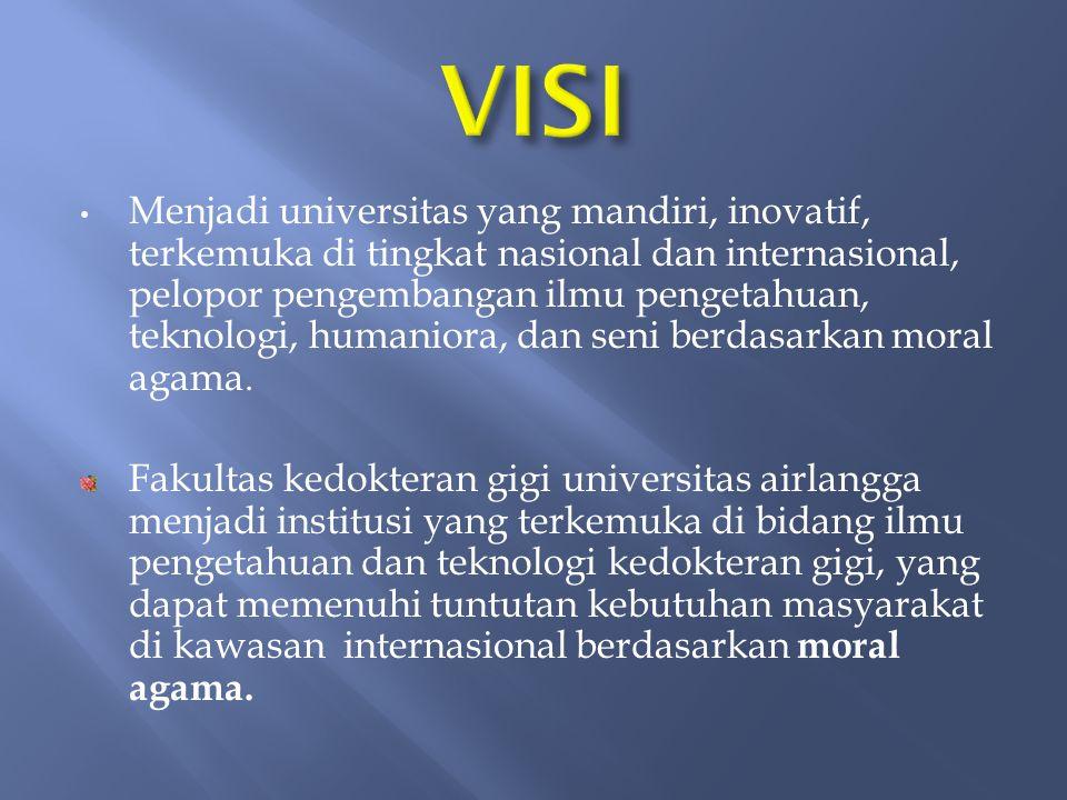 Menjadi universitas yang mandiri, inovatif, terkemuka di tingkat nasional dan internasional, pelopor pengembangan ilmu pengetahuan, teknologi, humaniora, dan seni berdasarkan moral agama.