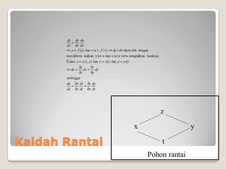 Kaidah Rantai Kalau w = w(x,y,z) dan x = x(u,v), y = y(u,v), dan z = z(u,v), maka pohon rantai : w y v z u x