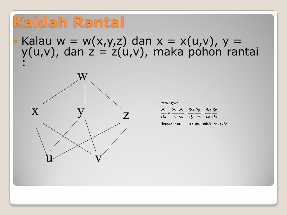 Kalau z = z(x,y), dan x = x(s), y = y(s), dan s = s(u,v), maka pohon rantai menjadi : z x u s y v