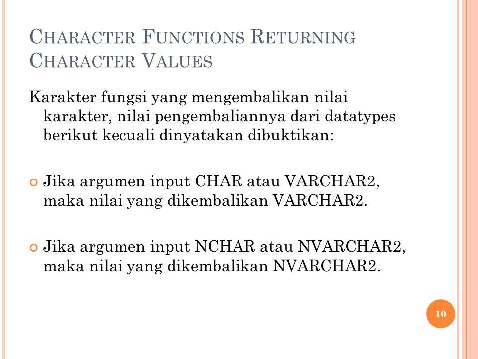 C HARACTER F UNCTIONS R ETURNING C HARACTER V ALUES Karakter fungsi yang mengembalikan nilai karakter, nilai pengembaliannya dari datatypes berikut ke