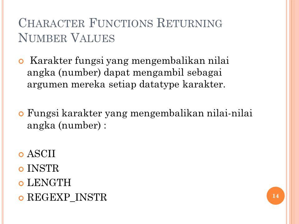 C HARACTER F UNCTIONS R ETURNING N UMBER V ALUES Karakter fungsi yang mengembalikan nilai angka (number) dapat mengambil sebagai argumen mereka setiap