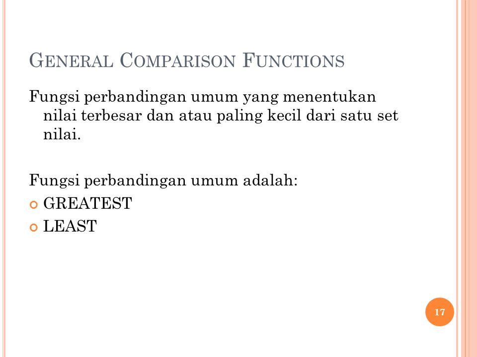 G ENERAL C OMPARISON F UNCTIONS Fungsi perbandingan umum yang menentukan nilai terbesar dan atau paling kecil dari satu set nilai. Fungsi perbandingan
