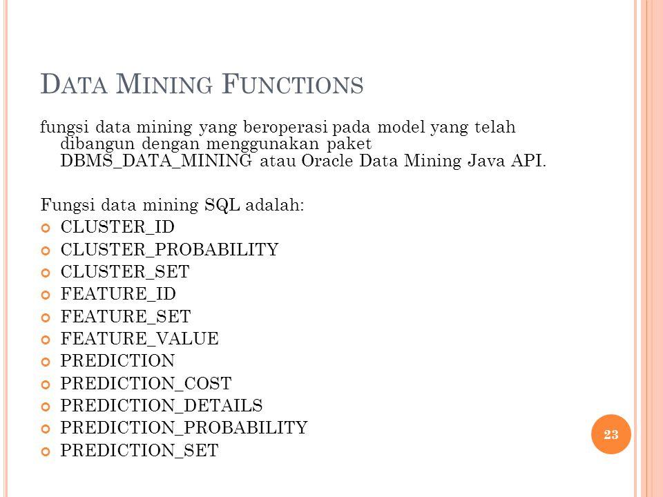 D ATA M INING F UNCTIONS fungsi data mining yang beroperasi pada model yang telah dibangun dengan menggunakan paket DBMS_DATA_MINING atau Oracle Data