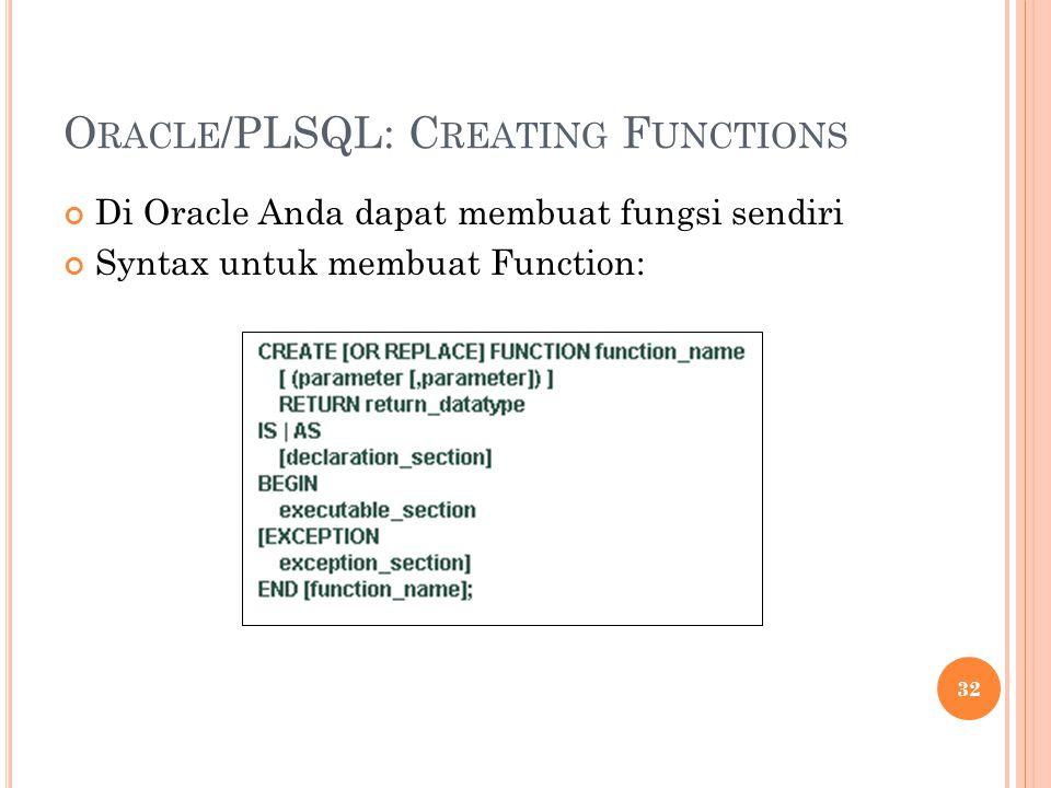 O RACLE /PLSQL: C REATING F UNCTIONS Di Oracle Anda dapat membuat fungsi sendiri Syntax untuk membuat Function: 32