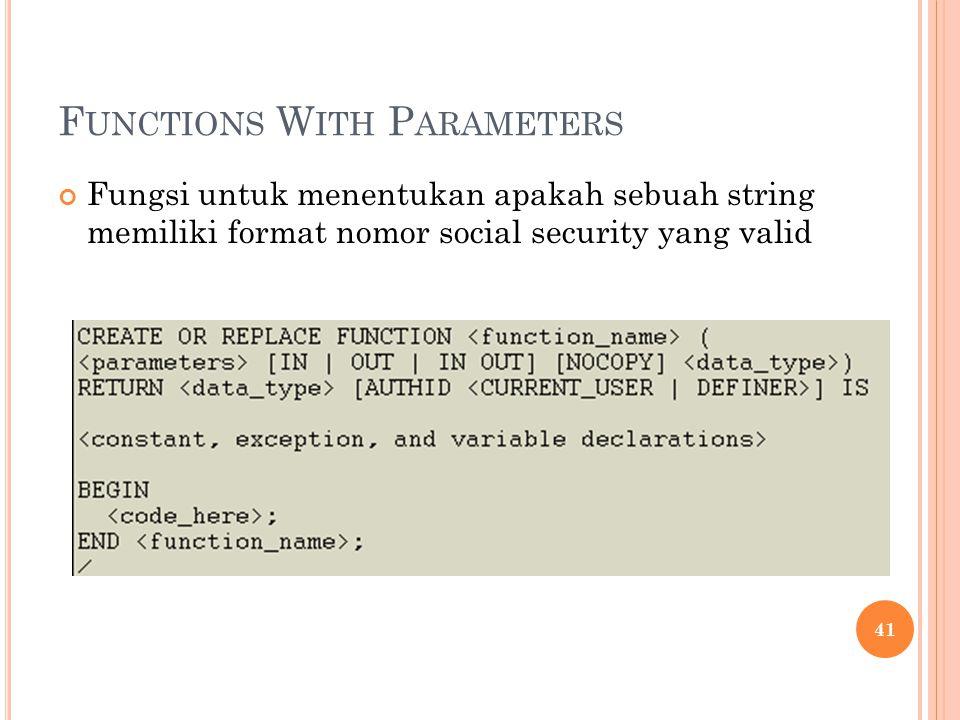 F UNCTIONS W ITH P ARAMETERS Fungsi untuk menentukan apakah sebuah string memiliki format nomor social security yang valid 41