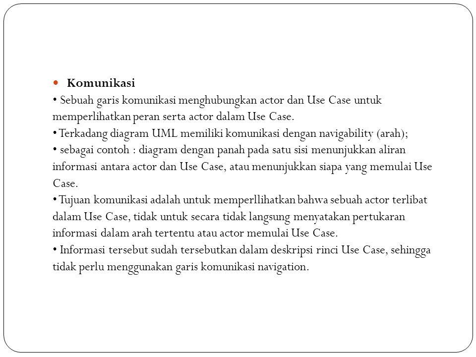 Komunikasi Sebuah garis komunikasi menghubungkan actor dan Use Case untuk memperlihatkan peran serta actor dalam Use Case.