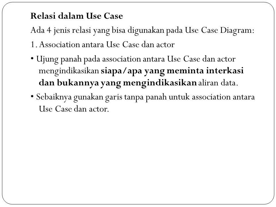 Relasi dalam Use Case Ada 4 jenis relasi yang bisa digunakan pada Use Case Diagram: 1.