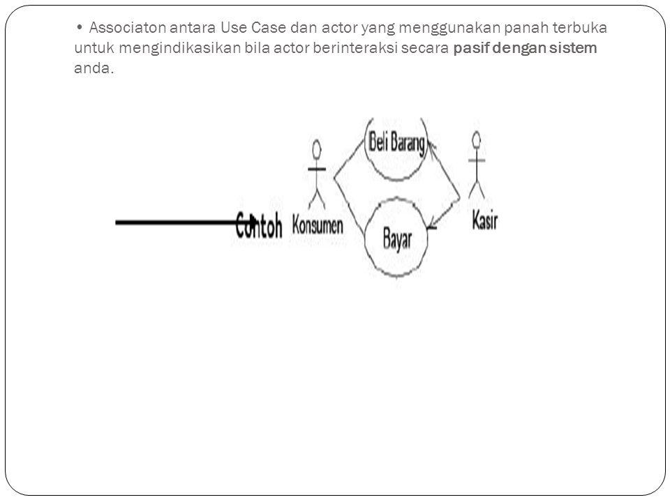 Associaton antara Use Case dan actor yang menggunakan panah terbuka untuk mengindikasikan bila actor berinteraksi secara pasif dengan sistem anda.