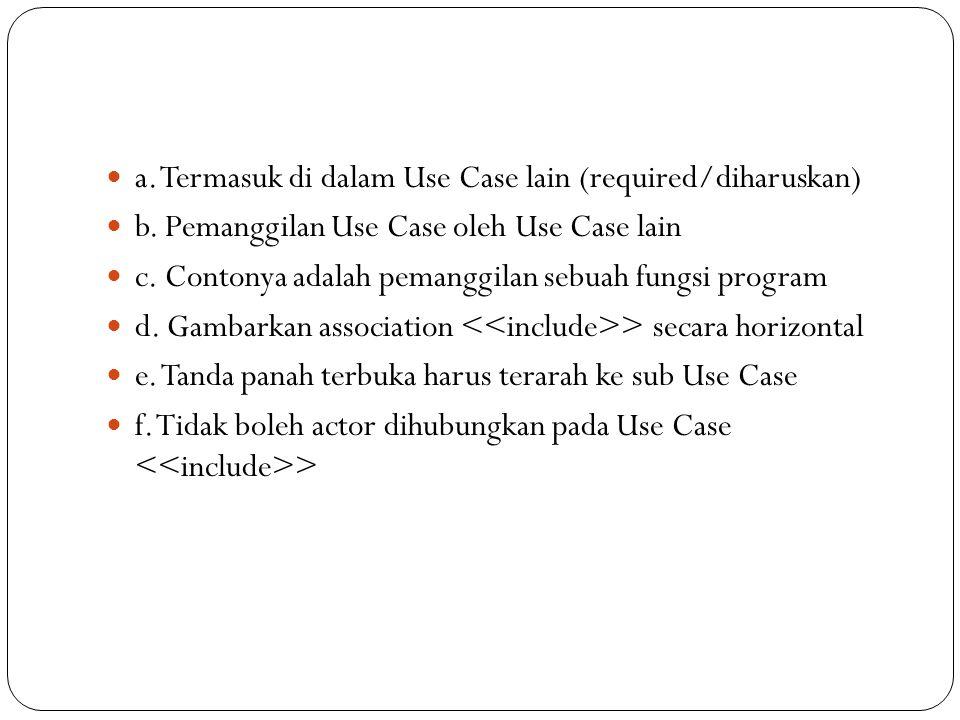 a. Termasuk di dalam Use Case lain (required/diharuskan) b.