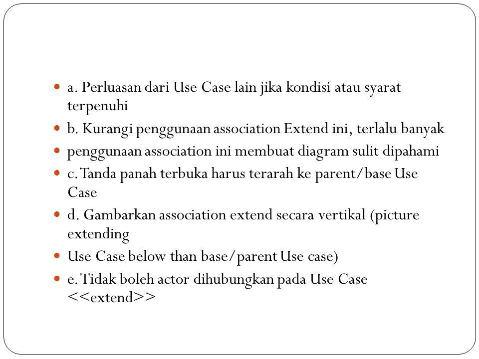 a. Perluasan dari Use Case lain jika kondisi atau syarat terpenuhi b.