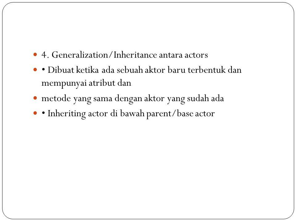 4. Generalization/Inheritance antara actors Dibuat ketika ada sebuah aktor baru terbentuk dan mempunyai atribut dan metode yang sama dengan aktor yang