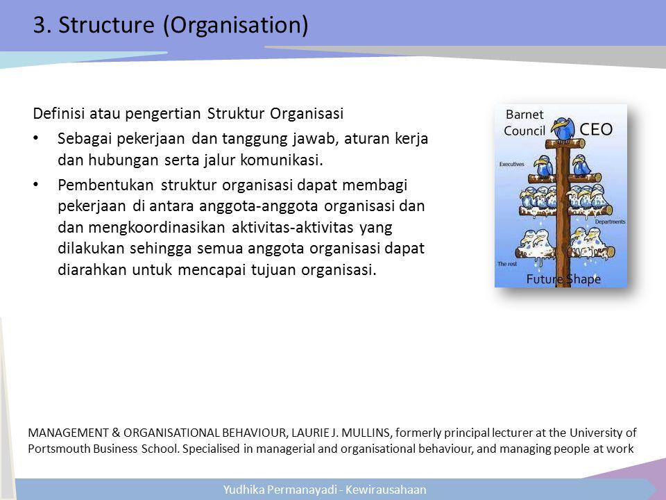 Yudhika Permanayadi - Kewirausahaan 3. Structure (Organisation) Definisi atau pengertian Struktur Organisasi Sebagai pekerjaan dan tanggung jawab, atu