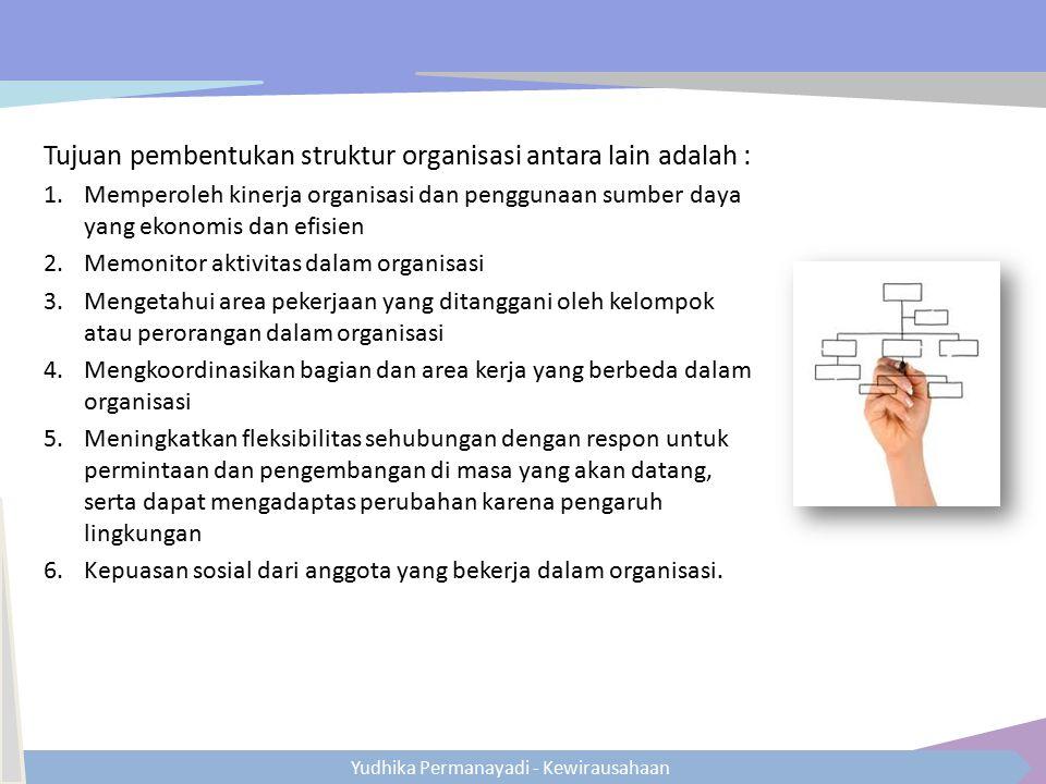 Yudhika Permanayadi - Kewirausahaan Tujuan pembentukan struktur organisasi antara lain adalah : 1.Memperoleh kinerja organisasi dan penggunaan sumber
