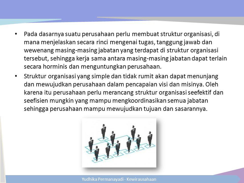 Yudhika Permanayadi - Kewirausahaan Pada dasarnya suatu perusahaan perlu membuat struktur organisasi, di mana menjelaskan secara rinci mengenai tugas,