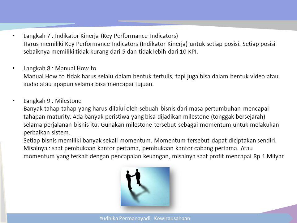 Yudhika Permanayadi - Kewirausahaan Langkah 7 : Indikator Kinerja (Key Performance Indicators) Harus memiliki Key Performance Indicators (Indikator Ki