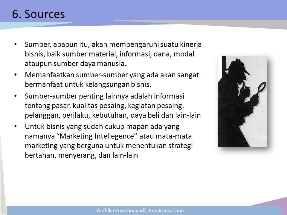 Yudhika Permanayadi - Kewirausahaan 6. Sources Sumber, apapun itu, akan mempengaruhi suatu kinerja bisnis, baik sumber material, informasi, dana, moda
