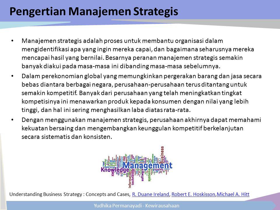 Yudhika Permanayadi - Kewirausahaan Pengertian Manajemen Strategis Manajemen strategis adalah proses untuk membantu organisasi dalam mengidentifikasi