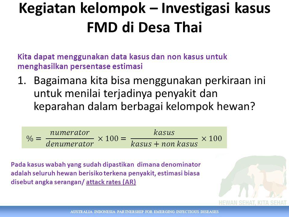 AUSTRALIA INDONESIA PARTNERSHIP FOR EMERGING INFECTIOUS DISEASES Kegiatan kelompok – Investigasi kasus FMD di Desa Thai Kita dapat menggunakan data kasus dan non kasus untuk menghasilkan persentase estimasi 1.Bagaimana kita bisa menggunakan perkiraan ini untuk menilai terjadinya penyakit dan keparahan dalam berbagai kelompok hewan.