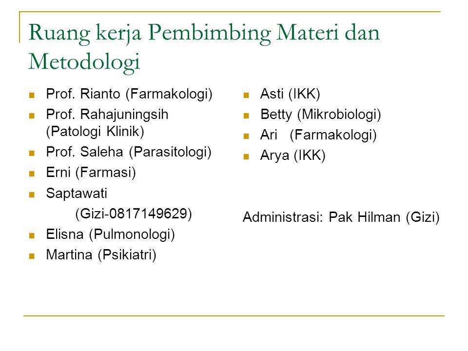 Prof. Rianto (Farmakologi) Prof. Rahajuningsih (Patologi Klinik) Prof.