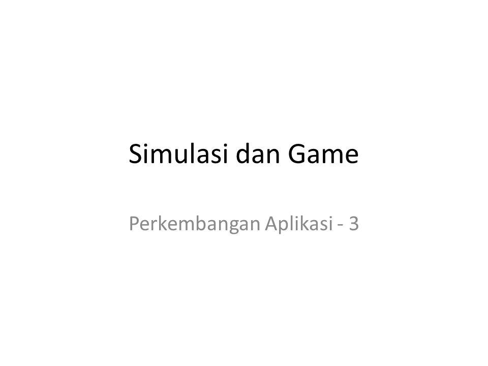 Tujuan Memberikan pemahaman tentang simulasi Menunjukkan penelusuran tentang konsep game Menjelaskan tentang perkembangan game Menjelaskan tentang komponen game Menjelaskan tentang komponen desain game Menunjukkan kemajuan dalam penggambaran lingkungan nyata ke dalam game