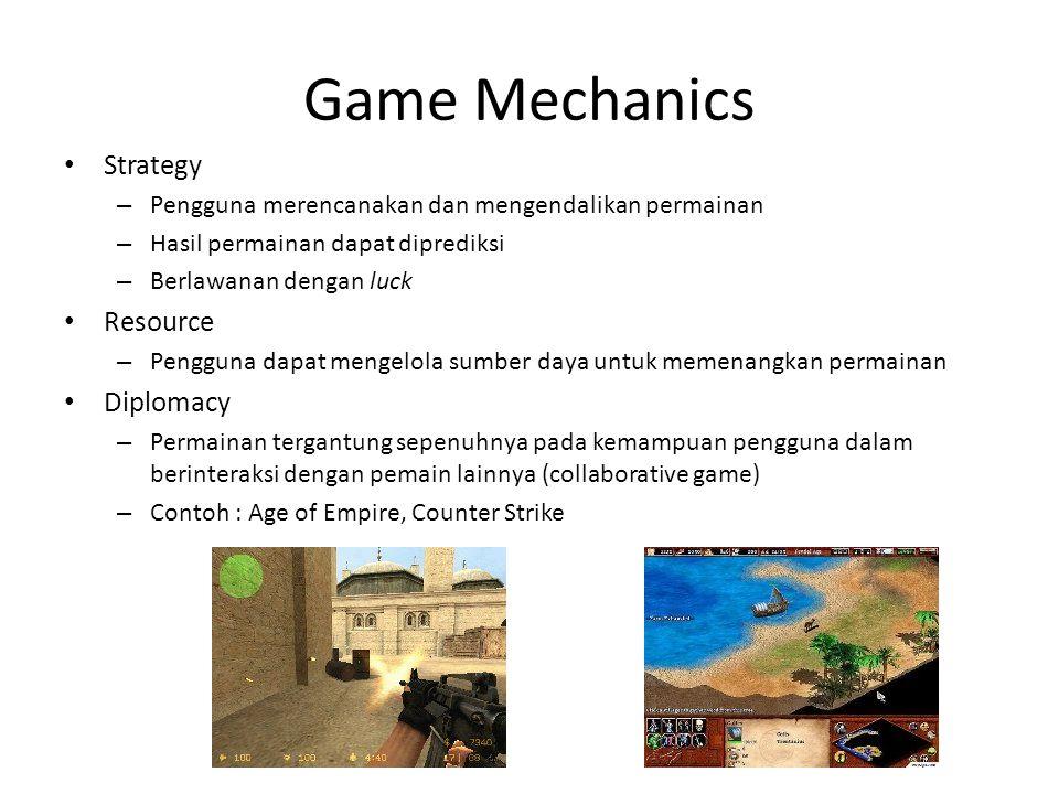 Dimensi Game world (4) Waktu – menggambarkan perjalanan waktu pada dunia/lingkungan game – Biasanya berbeda dengan perjalanan waktu sesungguhnya – Contoh: The Sims, Heroes