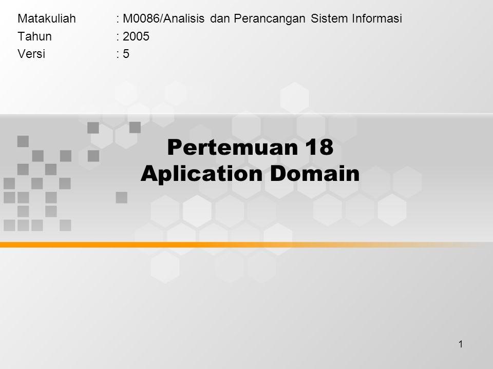 1 Pertemuan 18 Aplication Domain Matakuliah: M0086/Analisis dan Perancangan Sistem Informasi Tahun: 2005 Versi: 5