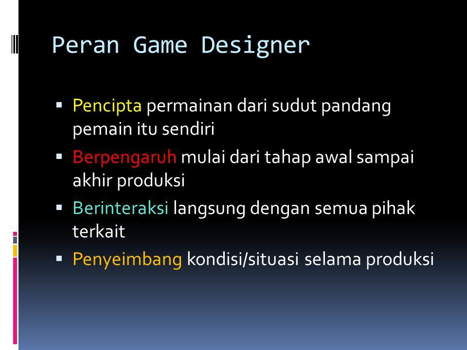 Peran Game Designer  Pencipta permainan dari sudut pandang pemain itu sendiri  Berpengaruh mulai dari tahap awal sampai akhir produksi  Berinteraks