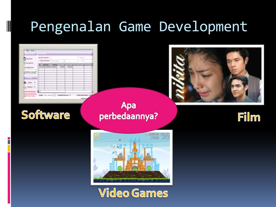 Perbedaannya:  Bersifat Interaktif dibanding film  Konten dari game sebagai medianya dibanding software  Lebih memiliki unsur FUN dibanding yang lain