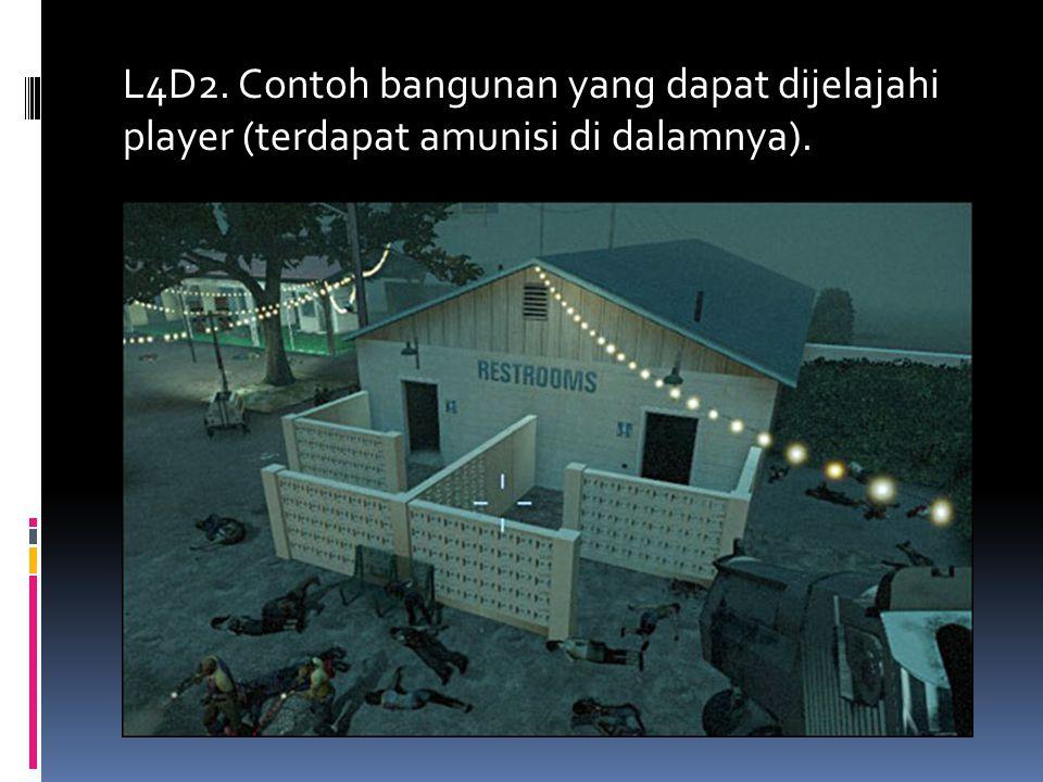 L4D2. Contoh bangunan yang dapat dijelajahi player (terdapat amunisi di dalamnya).