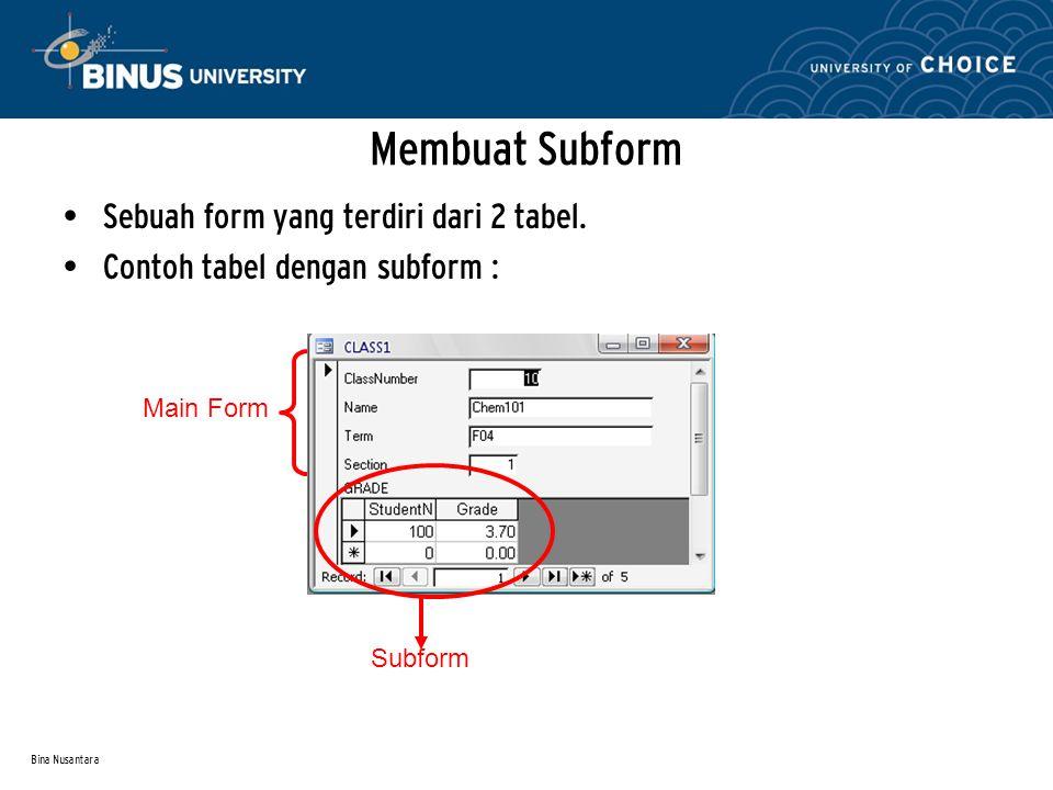 Bina Nusantara Membuat Subform Sebuah form yang terdiri dari 2 tabel.