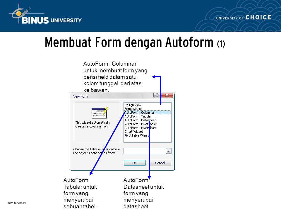 Bina Nusantara Membuat Form dengan Autoform (1) AutoForm : Columnar untuk membuat form yang berisi field dalam satu kolom tunggal, dari atas ke bawah.
