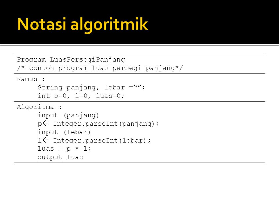 Program LuasPersegiPanjang /* contoh program luas persegi panjang*/ Kamus : String panjang, lebar = ; int p=0, l=0, luas=0; Algoritma : input (panjang) p  Integer.parseInt(panjang); input (lebar) l  Integer.parseInt(lebar); luas = p * l; output luas