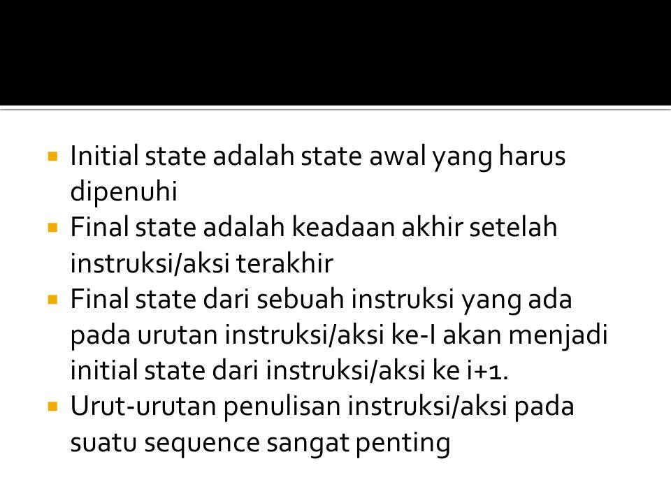  Initial state adalah state awal yang harus dipenuhi  Final state adalah keadaan akhir setelah instruksi/aksi terakhir  Final state dari sebuah instruksi yang ada pada urutan instruksi/aksi ke-I akan menjadi initial state dari instruksi/aksi ke i+1.