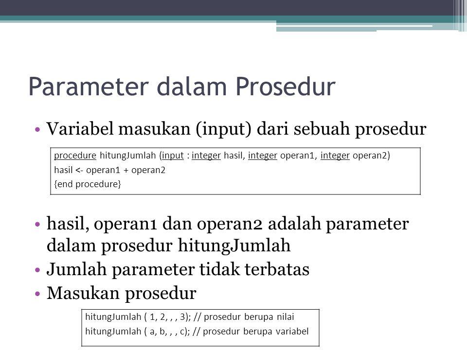 Parameter dalam Prosedur Variabel masukan (input) dari sebuah prosedur hasil, operan1 dan operan2 adalah parameter dalam prosedur hitungJumlah Jumlah