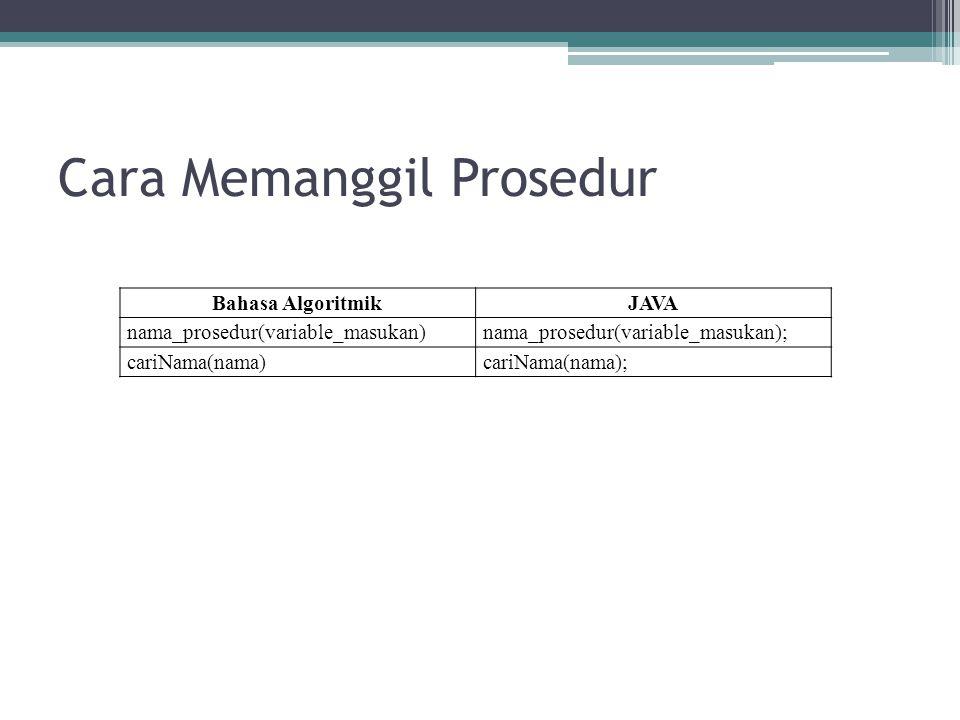 Cara Memanggil Prosedur Bahasa AlgoritmikJAVA nama_prosedur(variable_masukan)nama_prosedur(variable_masukan); cariNama(nama)cariNama(nama);