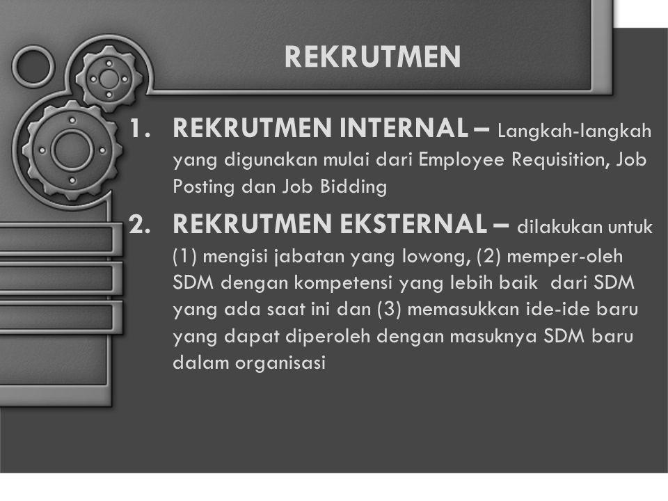 REKRUTMEN 1.REKRUTMEN INTERNAL – Langkah-langkah yang digunakan mulai dari Employee Requisition, Job Posting dan Job Bidding 2.REKRUTMEN EKSTERNAL – d