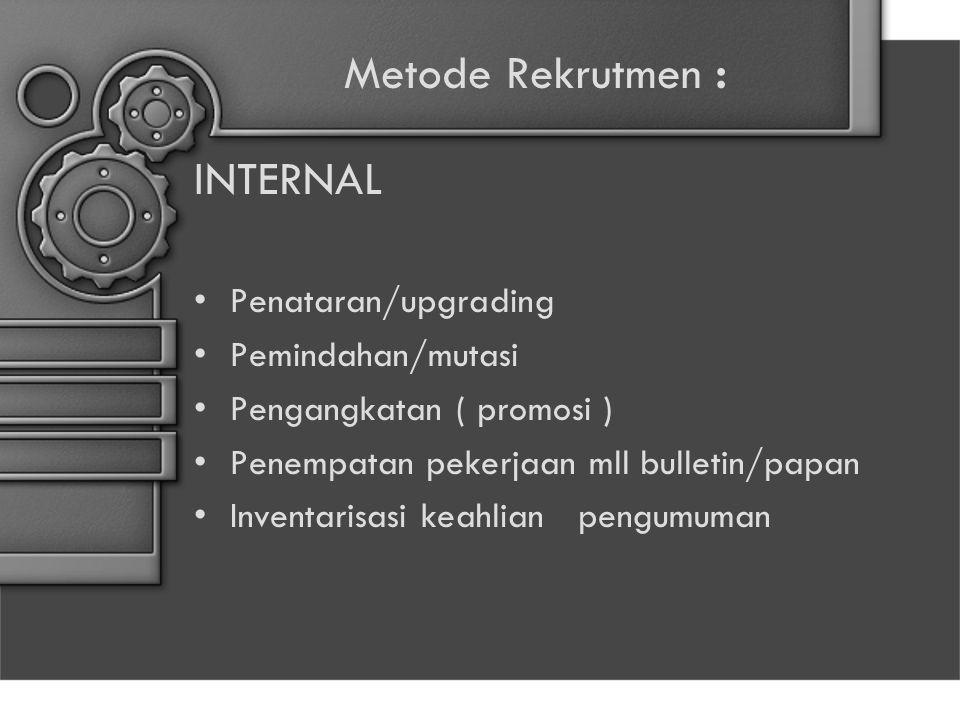 Metode Rekrutmen : INTERNAL Penataran/upgrading Pemindahan/mutasi Pengangkatan ( promosi ) Penempatan pekerjaan mll bulletin/papan Inventarisasi keahl