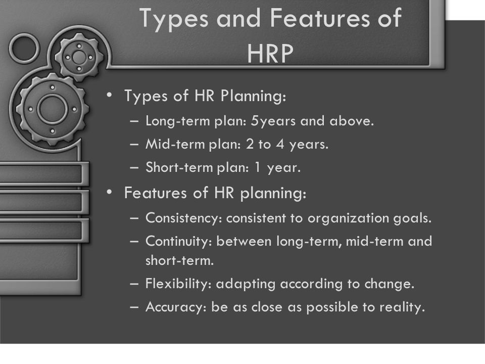 Types and Features of HRP Types of HR Planning: –Long-term plan: 5years and above. –Mid-term plan: 2 to 4 years. –Short-term plan: 1 year. Features of