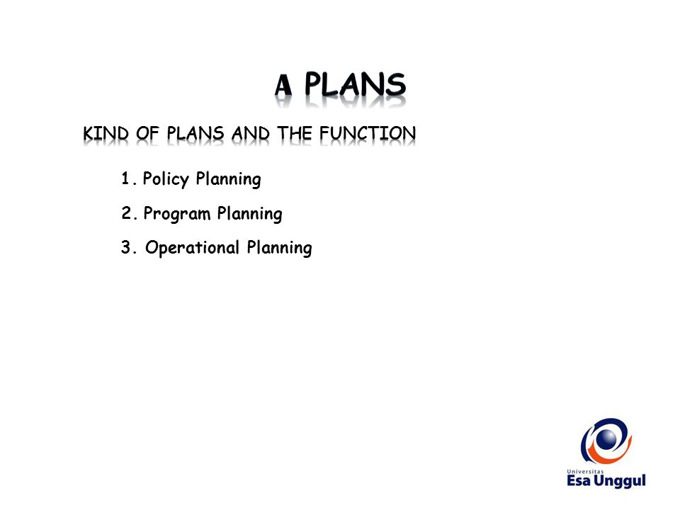 1. Policy Planning 2. Program Planning 3. Operational Planning