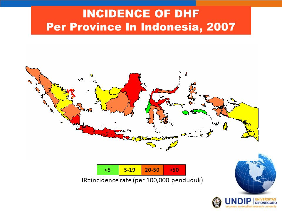 <5 5-1920-50>50>50 IR=incidence rate (per 100,000 penduduk) INCIDENCE OF DHF Per Province In Indonesia, 2007