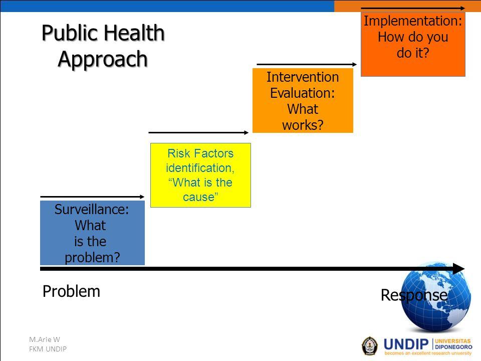 "M.Arie W FKM UNDIP Public Health Approach Problem Response Surveillance: What is the problem? Risk Factors identification, ""What is the cause"" Interve"