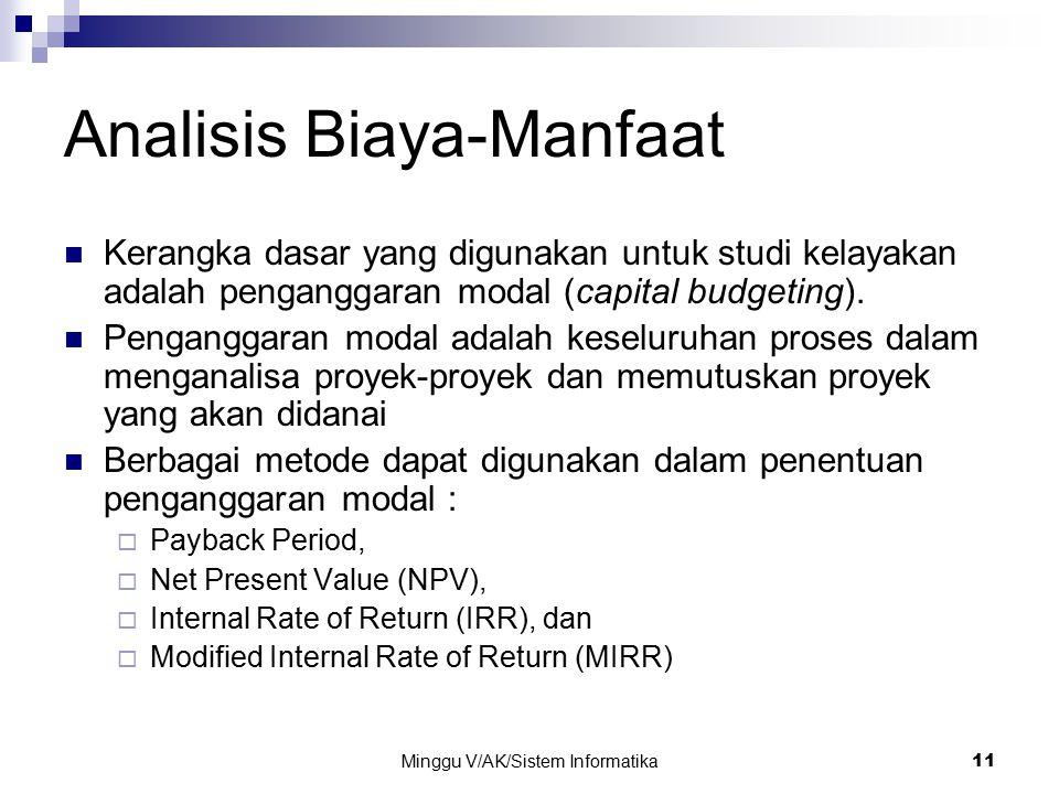 Minggu V/AK/Sistem Informatika 11 Analisis Biaya-Manfaat Kerangka dasar yang digunakan untuk studi kelayakan adalah penganggaran modal (capital budget