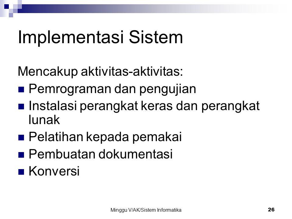 Minggu V/AK/Sistem Informatika 26 Implementasi Sistem Mencakup aktivitas-aktivitas: Pemrograman dan pengujian Instalasi perangkat keras dan perangkat